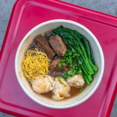 Surf &b Turf in a bowl! (Wonton and Beef Stew Egg Noodle Soup with Veggies)
